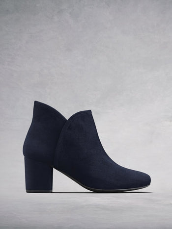 Tigerlily Navy Suede - Mid height suede block heel ankle boot.