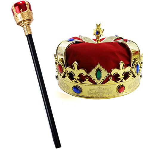 Tigerdoe Kings Crown and Scepter - King Costume Accessories