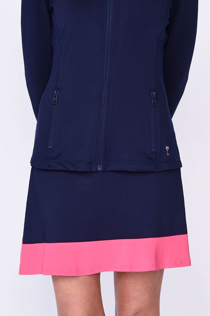Practice Round Navy & Hot Pink Pull-On Ruffle Tech Skort