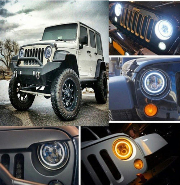 Jeep Wrangler 7 inch round LED headlight kit with white/Switchback halo HUMMER H2