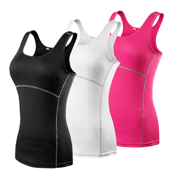 YD Womens Athletic Compression Yoga Sport Shirts Vest Tights Base Layer Gym Yoga Running Sleeveless Tank Top,RedOphelia.com