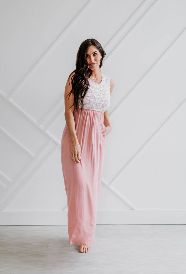 Lace Top-Pink Maxi Dress - Sparrow Noir