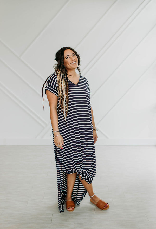 Navy Striped Maxi Dress - Sparrow Noir