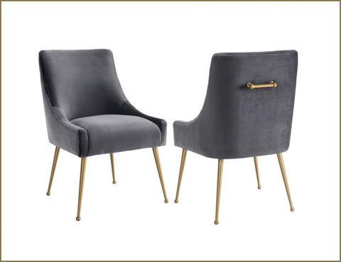 Cohen Velvet Dining Chair - Night Grey - Dining Chair