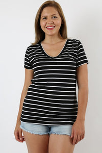 Striped V-neck
