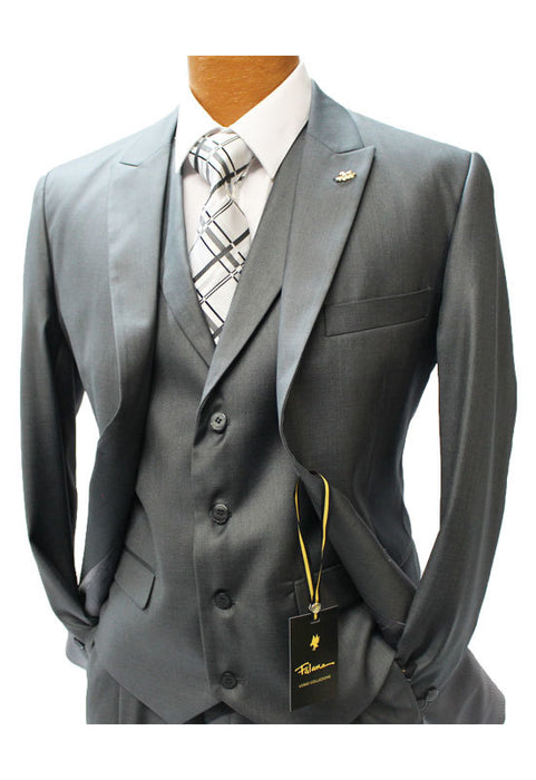 Falcone Pett Charcoal Gray Vested Classic Fit Suit