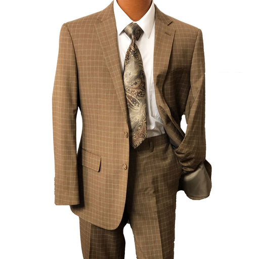 MDZ Brown Windowpane Modern Fit Men's Suit