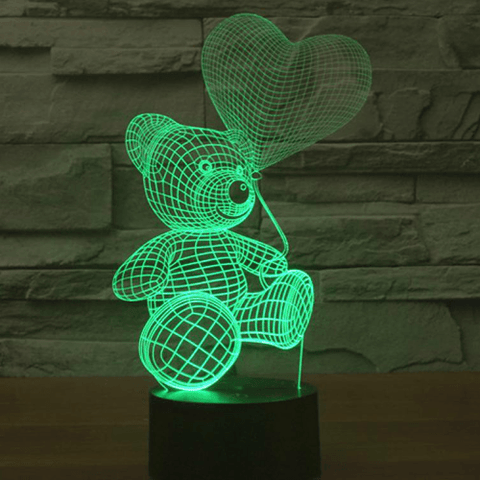 "3D ILLUSION LAMP ""BEAR WITH BALLOON"" 7 colors change mode, get yours at smartcooldeals"