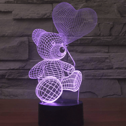 "3D ILLUSION LAMP ""BEAR WITH BALLOON"" 7 colors change mode 