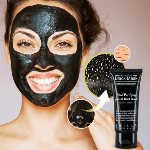 Image of This Purifying Peel-Off Mask is a carbon black full-face mask deeply penetrates the skin to safely remove acne on forehead, nose, chin, blackheads and fine facial hair. Our super-active carbonated mask absorbs dirt and grime while regulating oil secretion, allowing deep cleansing; leaving you a fresh, clog-free skin with an ultra-soft touch and reduces chances of acne!
