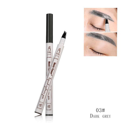 After trimming the eyebrows without applying any skincare product or makeup, form the outline of your eyebrows as you desire. Apply the 4-tip applicator vertically and smoothly draw eyebrow strand by strand from the front. When the color wears out after two or three days, you can retouch them to maintain the color. Do not wash your brows with cleansing products or rub it, if you want them to remain longer.