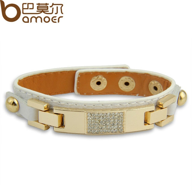 BAMOER Gold Color Black Leather Bracelets & Bangles With Crystal Fashion Jewelry for Women PI0305