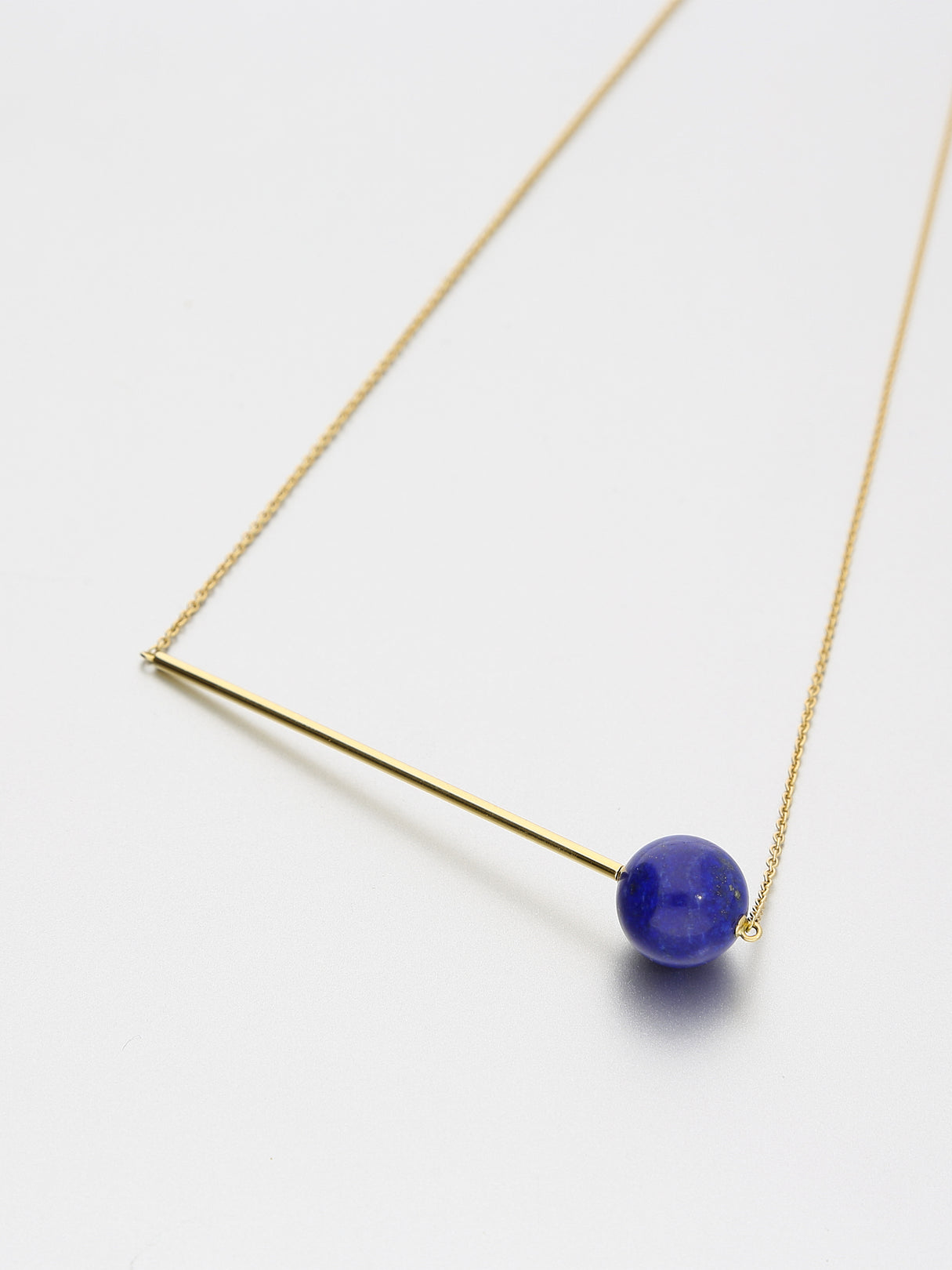 Abacus Lapis Lazuli Necklace, Yellow gold with Lapis Lazuli 12mm