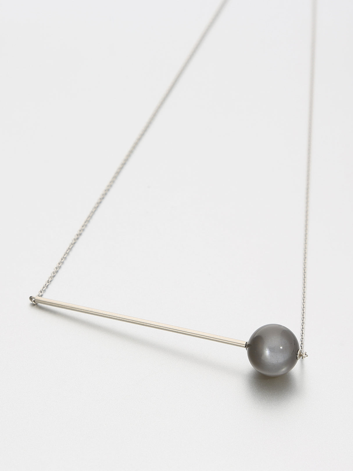 Abacus Moonstone Necklace, White gold with dark stormy grey moonstone 12 mm