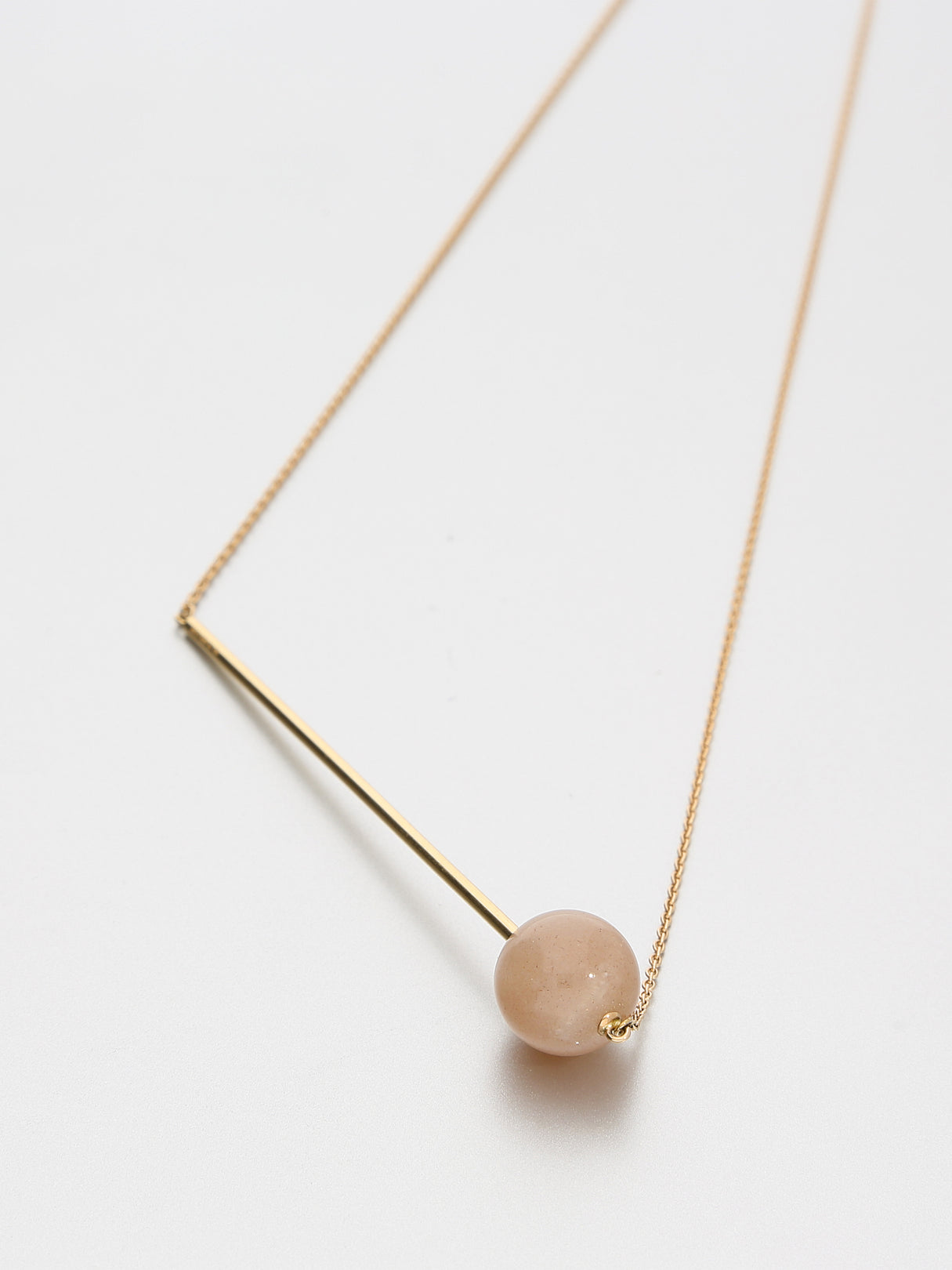 Abacus Moonstone Necklace, Rose gold with dusty pink moonstone 12 mm