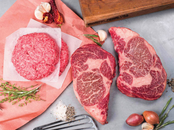 WAGYU RIBEYE STEAKS AND BURGERS, Two 14-16oz steaks and four 8 oz patties