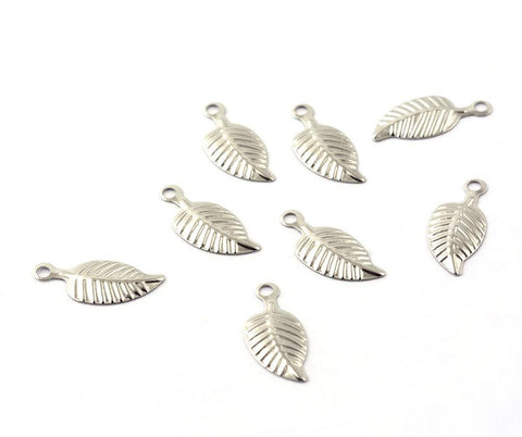 Stainless Steel Leaf charms - stainless steel charms - Stainless steel leaves charms - 14mm x 6mm (2045)