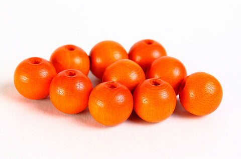 10mm Czech beads - 10mm orange beads - 10mm wood beads - 10mm round beads - 10 pieces (065)