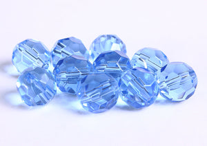 10mm Blue glass beads - Blue firepolish beads - Blue faceted round glass bead - 10 pieces (238)