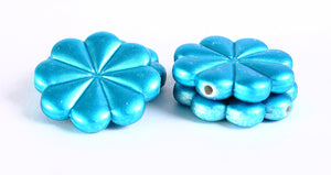 23mm Blue rubber flower beads - 4 pieces (365)
