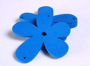 57mm blue flower wood pendant - 4 pieces (796)