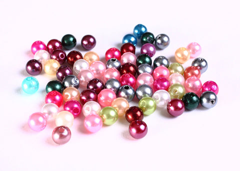 6mm Pearl finish Mixed color beads - 6mm faux pearl beads - 6mm round beads - 100 pieces (1054)