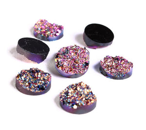 12mm Purple pink gold blue round resin cabochon - Faux druzy cabochon - Faux drusy cabochon Textured cabochons - 8 pieces (1216-1)