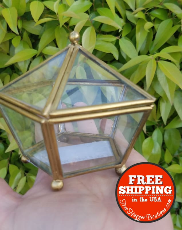 Vintage 3 Inch Glass And Brass Prism Terrarium With Hinged Top - Terrarium