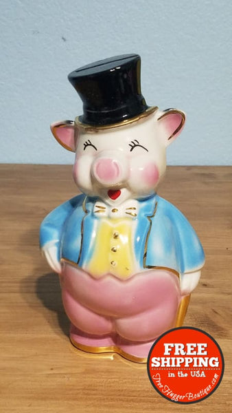 Vintage Piggy Bank With Top Hat Blue Tails Gold Accent - Bank