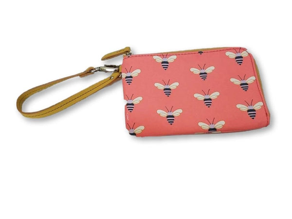 Fossil Zippered Clutch Wallet Coin Pouch with Bees in Salmon/Coral/Peach/Pink