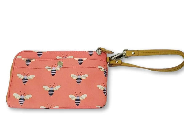 Fossil Zippered Clutch Wallet Coin Pouch with Bees in Salmon/Coral/Peach/Pink - wallet
