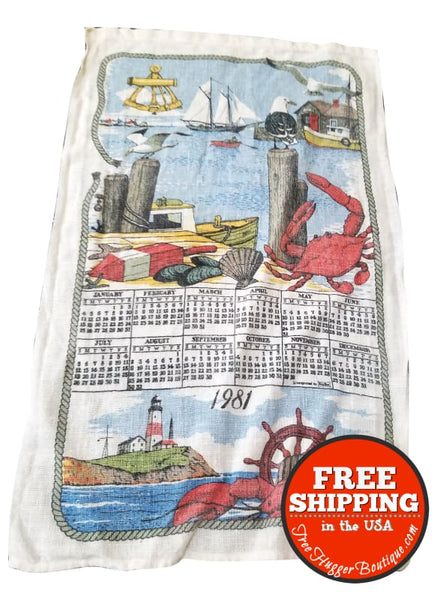 1981 Calendar Kitchen Hand Towel with Nautical/Ocean Wildlife Boats and Light House - kitchen towel