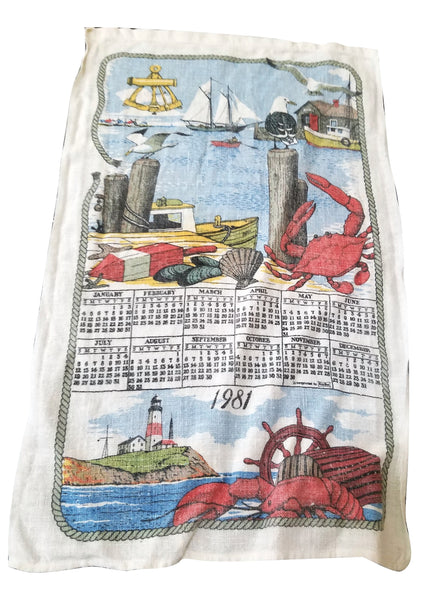 1981 Calendar Kitchen Hand Towel with Nautical/Ocean Wildlife, Boats, and Light House