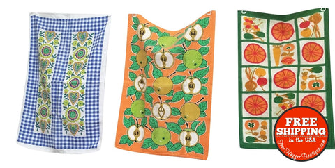 Set of 3 Mod Friut and Floral Kitchen/Tea Towel - kitchen towel