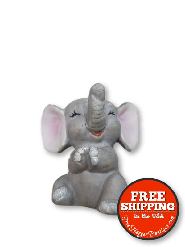 Enesco Porcelain Bisque Giggling Elephant Mid Century Figurine 2.5in - Collectibles