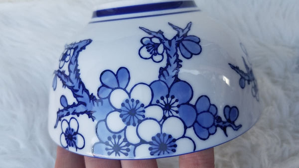 Two World Market Bowls In Blue Blossom And Blue Koi - Home Decor