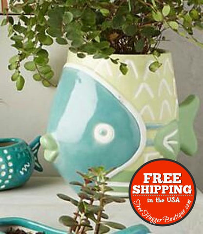 Anthropologie Perch Planter Large Fish Planter in Sage Green 12.5 inches long