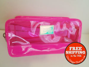 Victorias Secret Pink Neon Clear Zipper Pouch Cosmetic Case Bag 8.5In - Bag