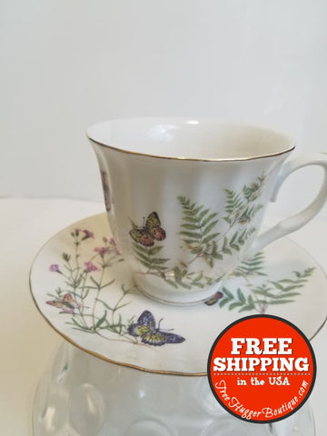 Gracie China Butterfly Porcelain 7-Ounce Tea Cup and Saucer Set - tea cup and saucer