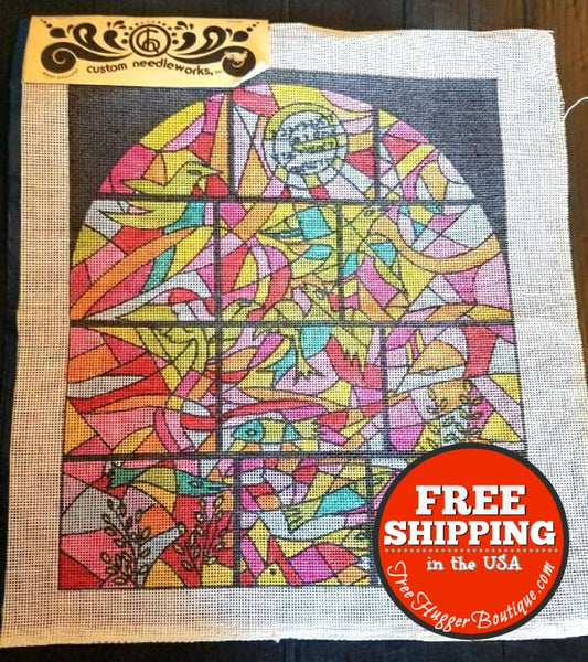 Groovy Stained Glass Vintage Embroidery Diy Map/canvas By Custom Needleworks - Arts & Craft Supply