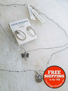 Lucky Brand Lucky Layers Elephant Necklace Wear 1 Or 2 Necklaces & Earrings - Jewelry Bundles