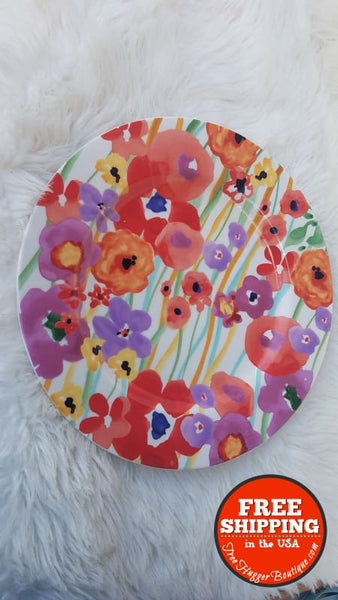 New Anthropologie Floral Hand Glazed Dish 11In Dinner Plate - Home Decor