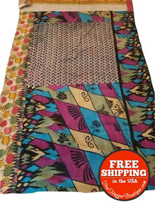 New Handmade One-Of-A-Kind Kantha Quilt Throw 60X90 Many Uses & Eco-Friendly! - Ecofriendly Home Decor