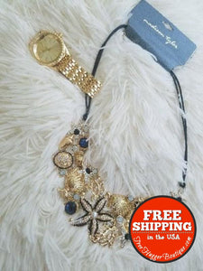 New Madison Tyler Bling Seashell Necklace And New Gold Tone Jessica Carlyle Watch - Jewelry Bundles