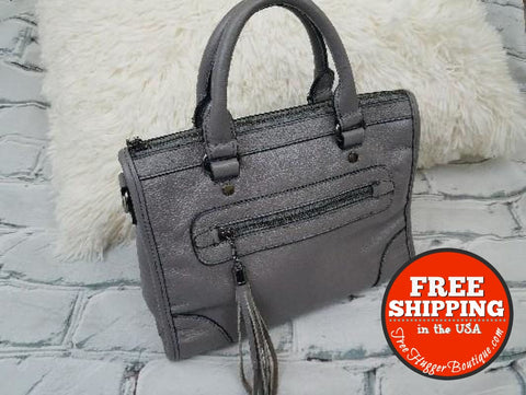 New Medium Gray Satchel Handbag W/option To Add Your Own Straps - Purses