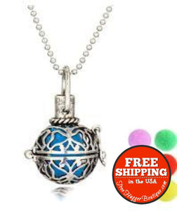 New Silver Tone Essential Oil Diffuser Necklace Locket Aromatherapy (1 Necklace) - Necklace