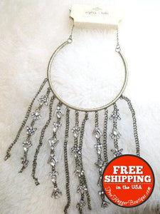 New Sofia & Kate Brass Gold Antiqued Short Choker Necklace With Long Strands/fringe - Necklace