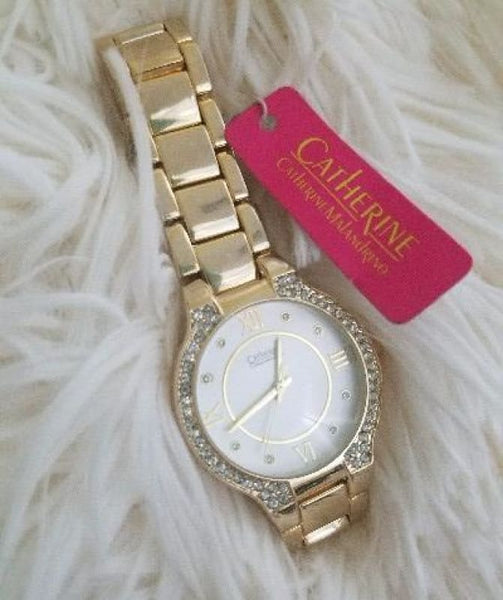 New Womens Gold Tone Watch C By Catherine Malandrino Crystal Embellished Round - Watches