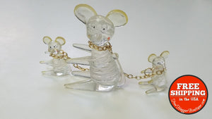 Vintage Mcm Acrylic Or Lucite Clear Mice Trio (Mom & Kids) - Home Decor