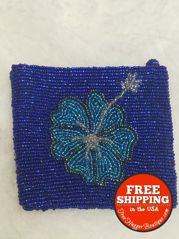 Womens Hand Beaded Hibiscus Coin Pouch 4.5In X 4In Blue - Wallets